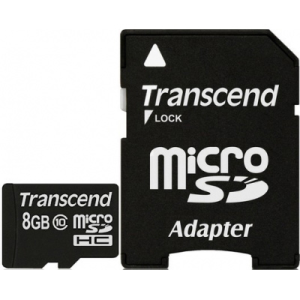 Карта памяти 8Gb - Transcend - Micro Secure Digital HC Class 10 TS8GUSDHC10 с переходником под SD