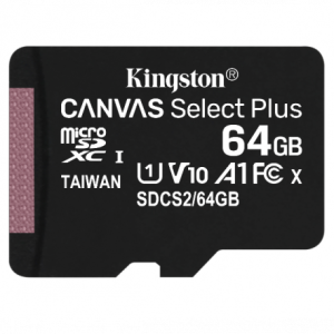 Карта памяти MicroSDXC 64GB Kingston Canvas Select 80R CL10 UHS-ISP (SDCS/64GBSP)